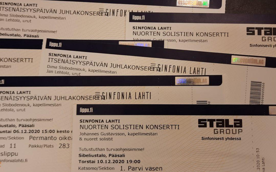 Sinfonia Lahden konsertit peruttu 25.1.2021 asti